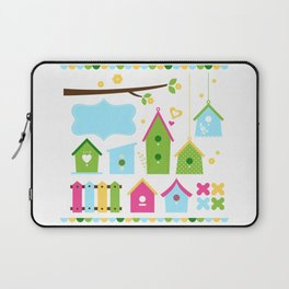 Beautiful colorful spring bird houses Laptop Sleeve