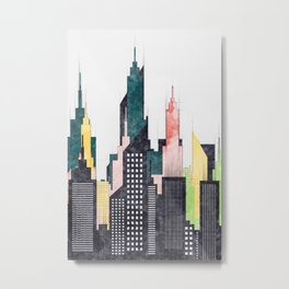 Modern American City Skyline With Buildings And Skyscrapers Metal Print