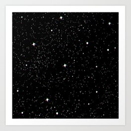 Simple psyche white stars night Art Print