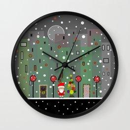 Santa City Snowfall Wall Clock