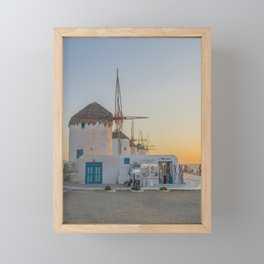 Mykonos Windmills by Pupina Framed Mini Art Print