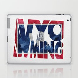Wyoming Typographic Flag Map Art Laptop & iPad Skin