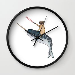 Pug on a Narwhal Wall Clock