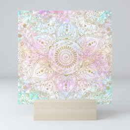Elegant Gold Mandala Holographic Design Mini Art Print