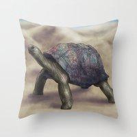 tortoise Throw Pillows featuring Tortoise by Ben Geiger