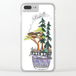 Forest Tree House - Woodland Potted Plant Clear iPhone Case