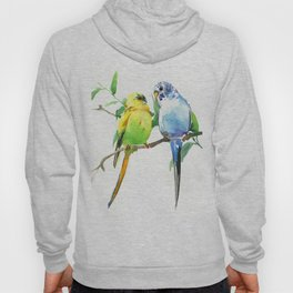 Budgies, Animal art, love, two birds bird artwork, bird pet Hoody