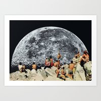 collage Art Prints featuring MOONRISE  by Beth Hoeckel