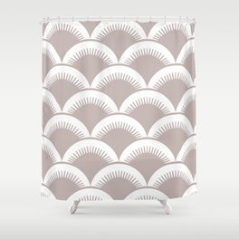 Japanese Fan Pattern Beige Shower Curtain