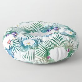 Tropical leaves and orchid flowers design Floor Pillow