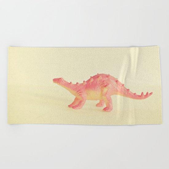 Pink Dinosaur Beach Towel