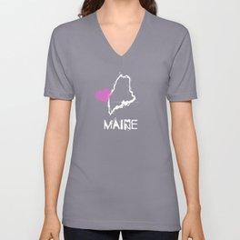 Love Maine State Sketch USA Art Design Unisex V-Neck