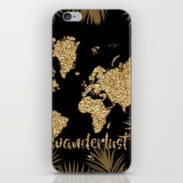 world map gold black iPhone Skin