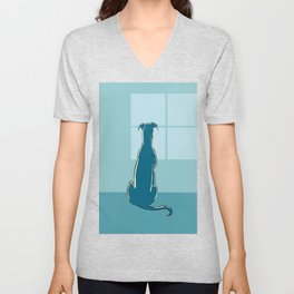 Waiting Greyhound Unisex V-Neck