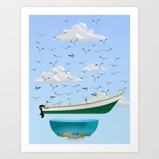 Boat and Birds Art Print