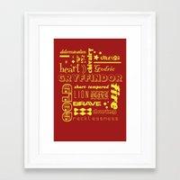 gryffindor Framed Art Prints featuring Gryffindor by husavendaczek