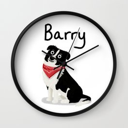 "Custom Cute Dog Art ""Barry"" Wall Clock"