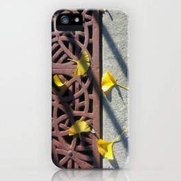 Grate and Ginko Leaves iPhone Case