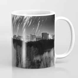 Night fireworks over flooded forest Coffee Mug