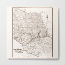 Ventura County Map Metal Print