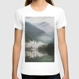 Dreamlike Morning at the Lake - Nature Forest Mountain Photography T-shirt