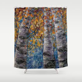 Aspen Trees by OLena Art Shower Curtain