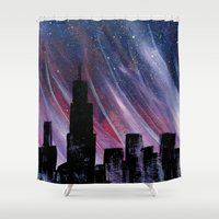 chicago bulls Shower Curtains featuring Chicago by Tesseract