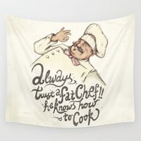 chef Wall Tapestries featuring CHEF by Mike Koubou