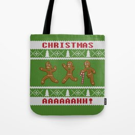 Ugly Christmas Sweater Scared Gingerbread Men Green Tote Bag