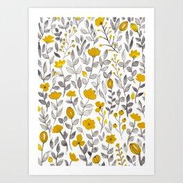 Organic watercolor botanicals 2 Art Print