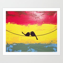 love birds wall canvas art print for sale original contemporary Art Print
