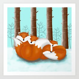 Slepping foxes Art Print