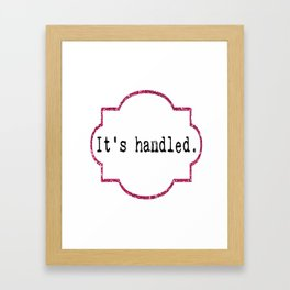 It's Handled - Television Pink Glitter Framed Art Print