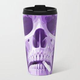 Skull Smoking Cigarette Purple Travel Mug