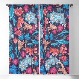 Elegant Asian Floral Pattern of Health and Wealth Blackout Curtain