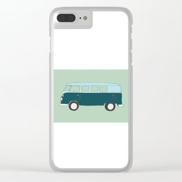 Blue Campervan Clear iPhone Case