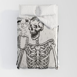 Skeleton Drinking a Cup of Coffee Duvet Cover
