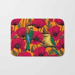 Bee eaters and poppies on orange Bath Mat