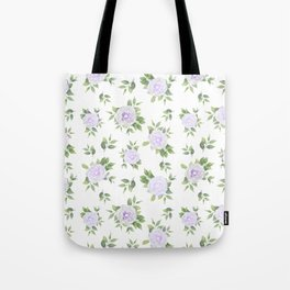 Botanical lavender white green watercolor floral Tote Bag