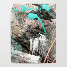(Un)Tamed [2]: a vibrant, colorful abstract piece in pink, teal, black and white Poster