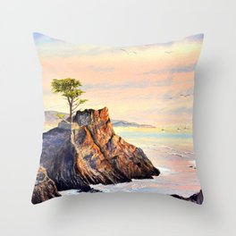 Lone Cypress Tree Pebble Beach California Throw Pillow