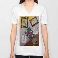 da vinci V-neck T-shirts featuring Tribute to Leonardo da Vinci by Art By Carob