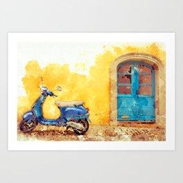Blue Vespa Italian Moped Scooter Kunstdrucke