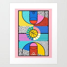 Coast to Coast - memphis art print, basketball art print, wacka designs, 80s, sports art print, Art Print