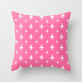 Pink Planes Throw Pillow