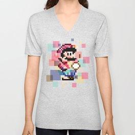 Super Mario Pixel Cubism Unisex V-Neck