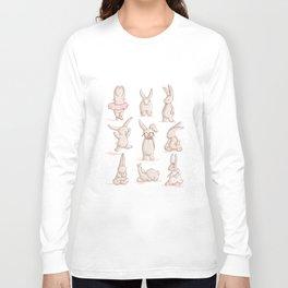 Cute Bunnies, Playing Dress Up, Pink, Disguise Long Sleeve T-shirt