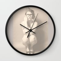 nudes Wall Clocks featuring join the nerd-army by Falko Follert Art-FF77