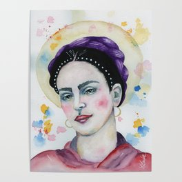 Frida in Watercolor Poster