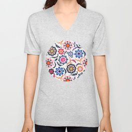 Happy Color Suzani Inspired Pattern Unisex V-Neck